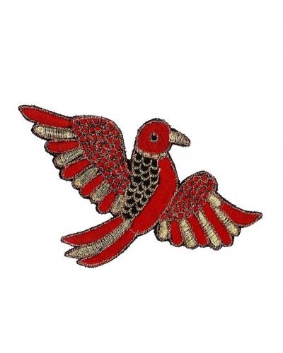 broche vogel rood