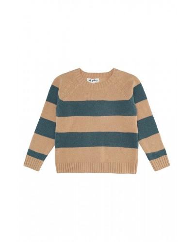 blauw bruin gestreepte trui