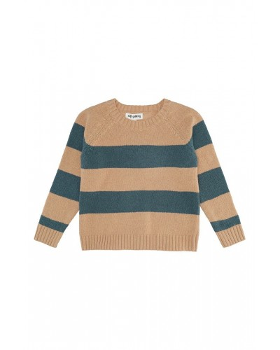 blue brown striped jumper