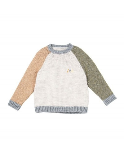 ecru jumper with colored sleeves
