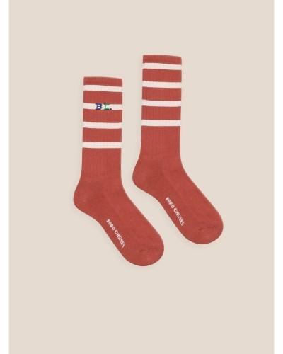 rode gestreepte sokken