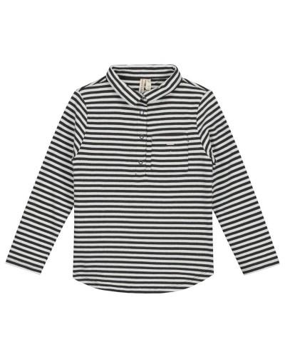 black white striped polo