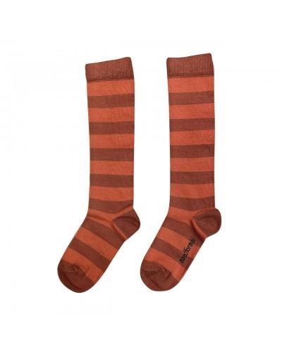 bruin rood gestreepte sokken