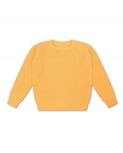 geel gebreide trui