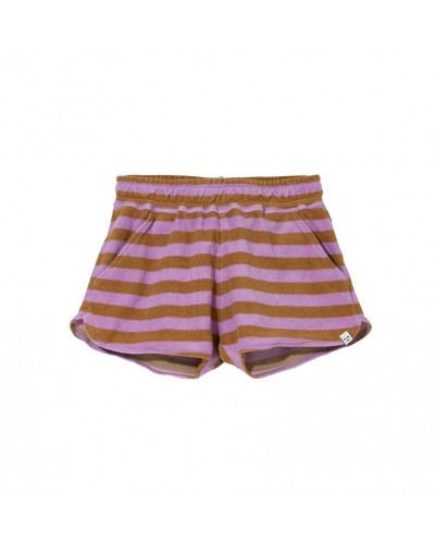 purple brown terry shorts