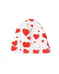 red hearts baby beanie
