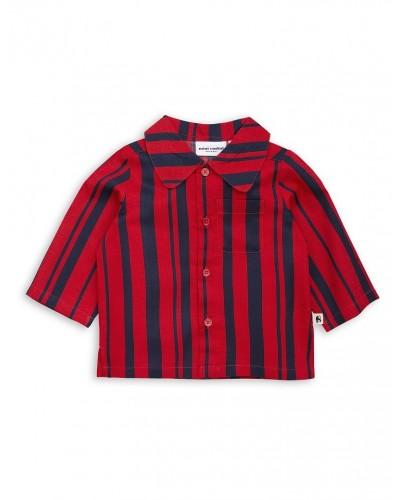 blauw en rood gestreepte hemd