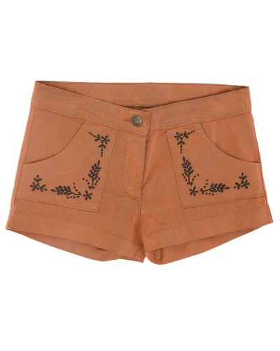 brown short embroidery