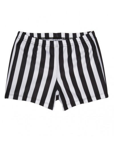 black and white striped swim pants