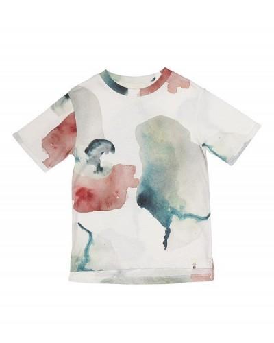 blauw roze waterbloemen t-shirt