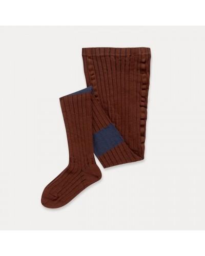 brown blue stripe tights