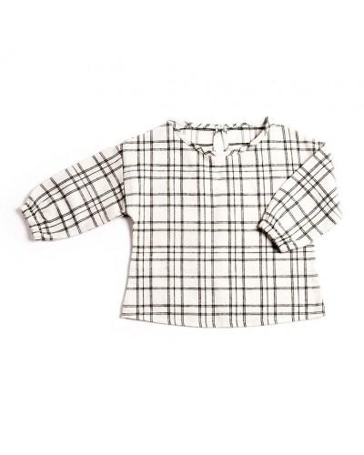 zwart geruite blouse