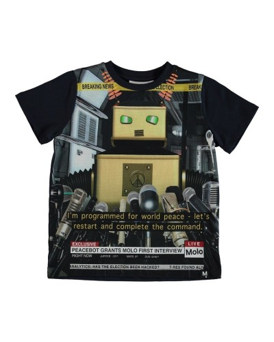 black t-shirt peace bot