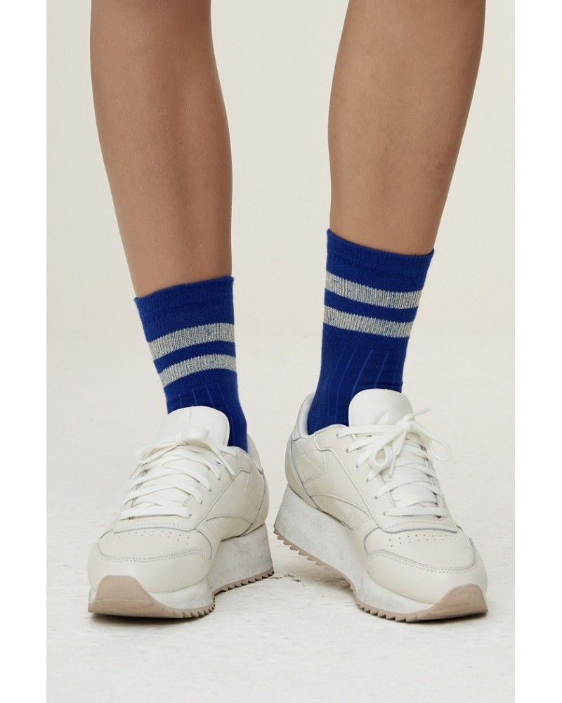 blue stripe sparkle socks